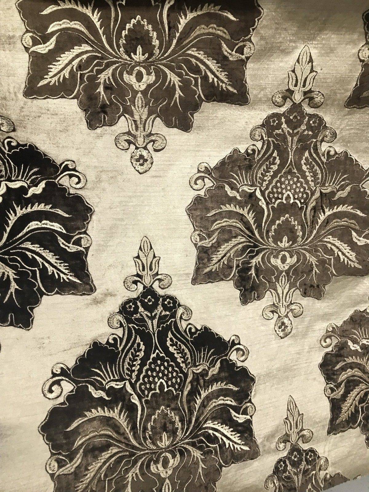 NEW! Made In Belgium Brocade Cut Velvet Fabric- Taupe Chocolate - Upholstery - Fancy Styles Fabric Boutique