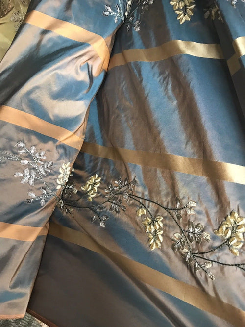 SALE! Designer 100% Silk Taffeta Embroidery Fabric Teal & Peach Iridescent - Fancy Styles Fabric Boutique