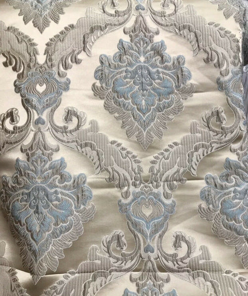 Designer Brocade Satin Damask Upholstery Fabric - Blue Taupe- By The Yard