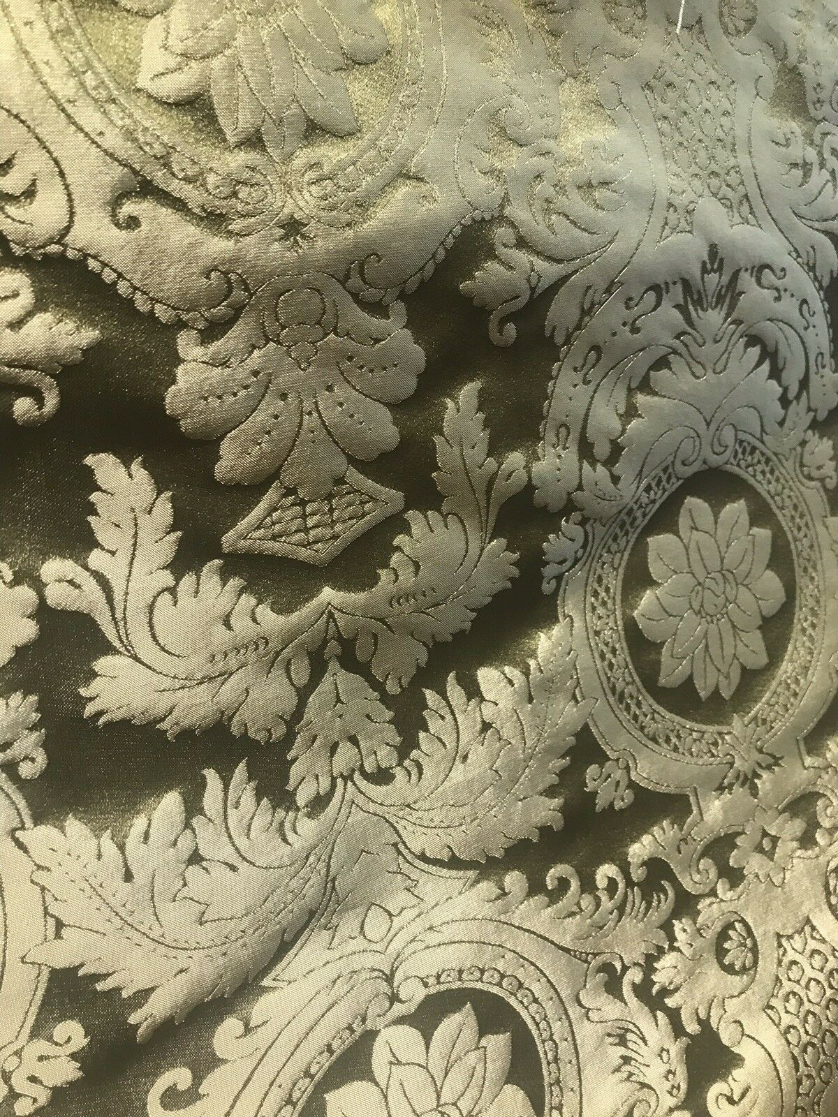 Designer Damask Drapery Satin Fabric - Olive Green- Decorating