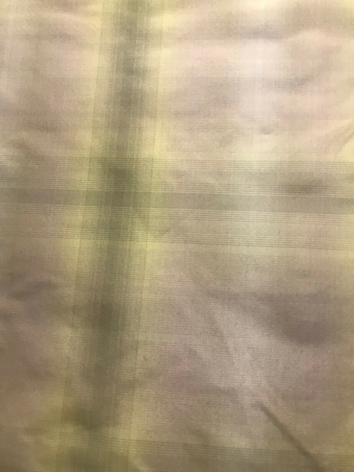 NEW Designer 100% Silk Taffeta Dupioni Faded Plaid Tartan Fabric -Green Pink