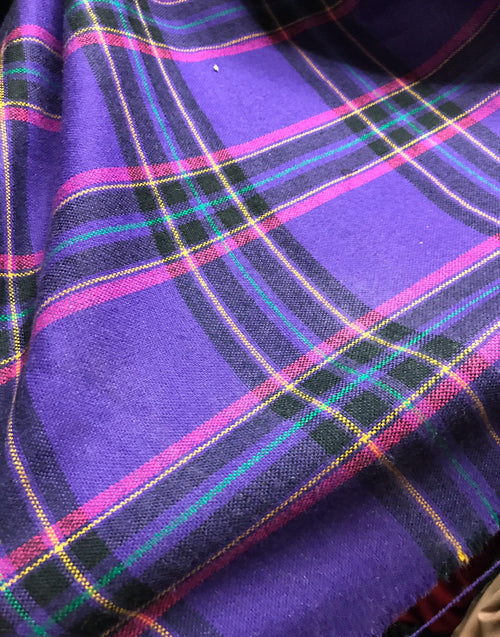 Designer Wool Purple Plaid Fabric by the yard - Fancy Styles Fabric Pierre Frey Lee Jofa Brunschwig & Fils