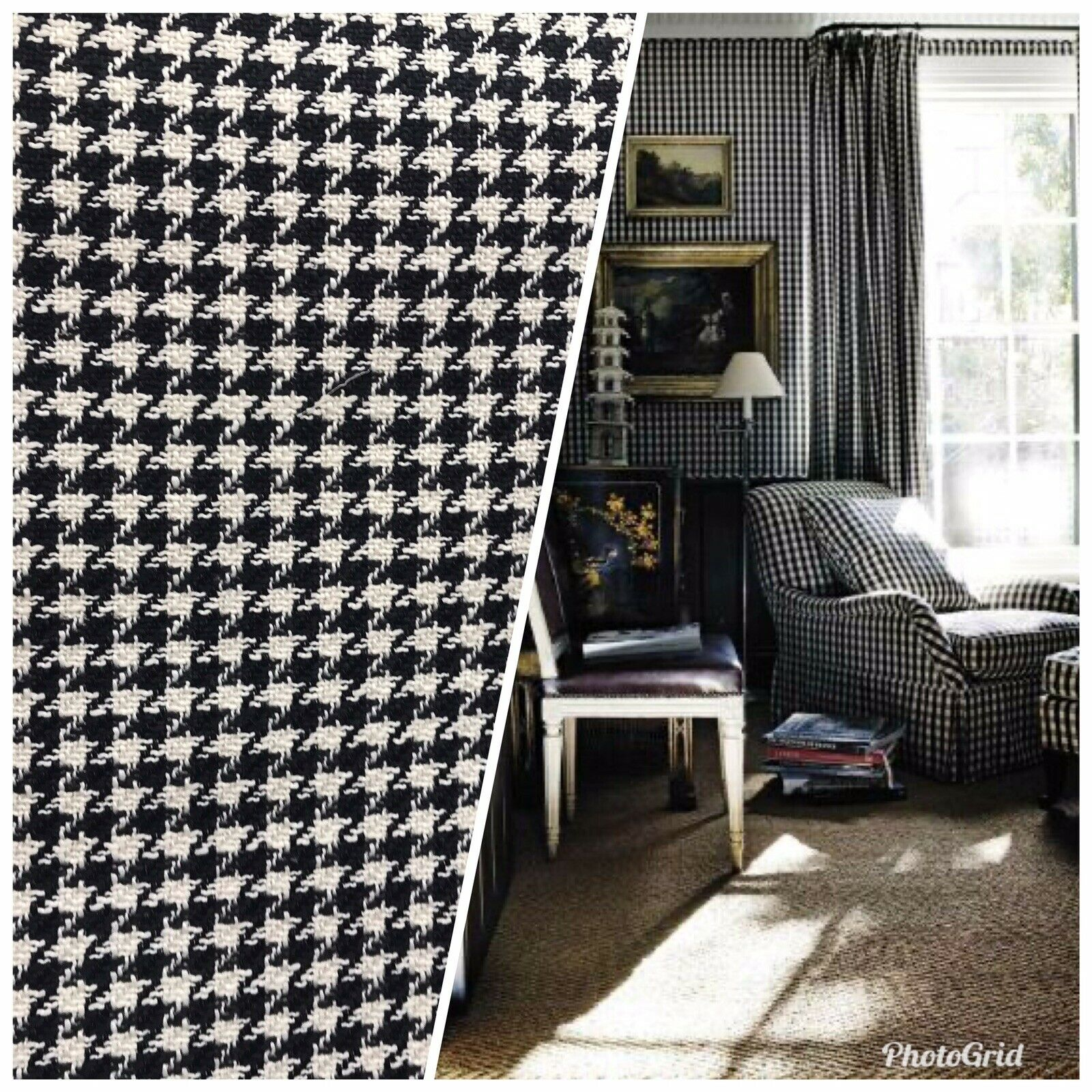 NEW! Designer Upholstery Heavyweight Tweed Fabric- Gingham Houndstooth BTY