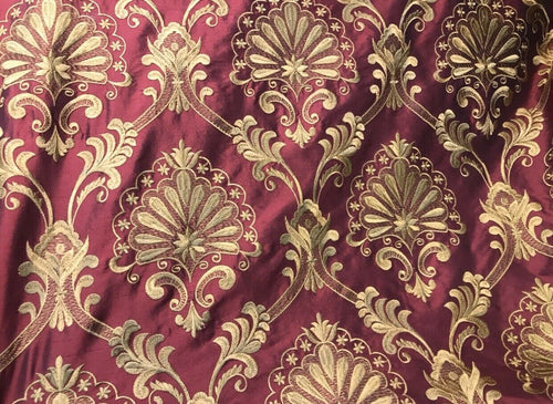 NEW Novelty 100% Silk Taffeta Embroidered Fabric Made In India- Red & Gold BTY