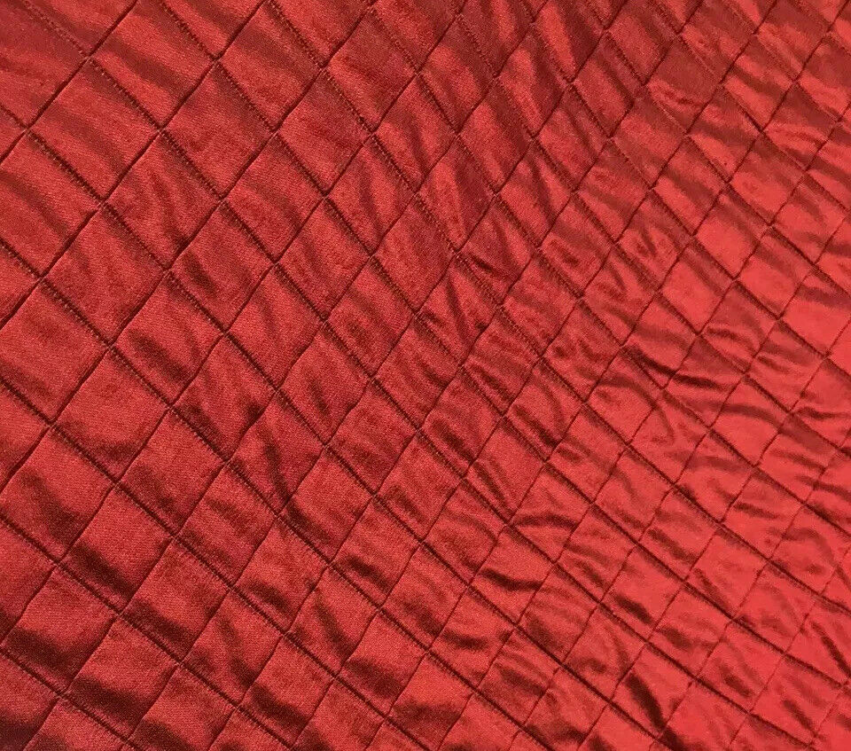 NEW! 100% Silk Dupioni Embroidered Quilted Diamond Double Layer Fabric- Red