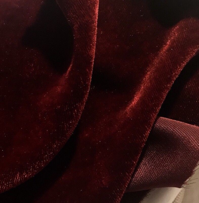 "Designer Silk & Rayon Velvet Fabric - Burgundy Red- By The Yard- 55"" Wide - Fancy Styles Fabric Pierre Frey Lee Jofa Brunschwig & Fils"