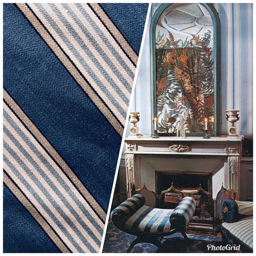NEW Cotton French Stripes Upholstery Fabric - Heavyweight - Blue - Fancy Styles Fabric Pierre Frey Lee Jofa Brunschwig & Fils