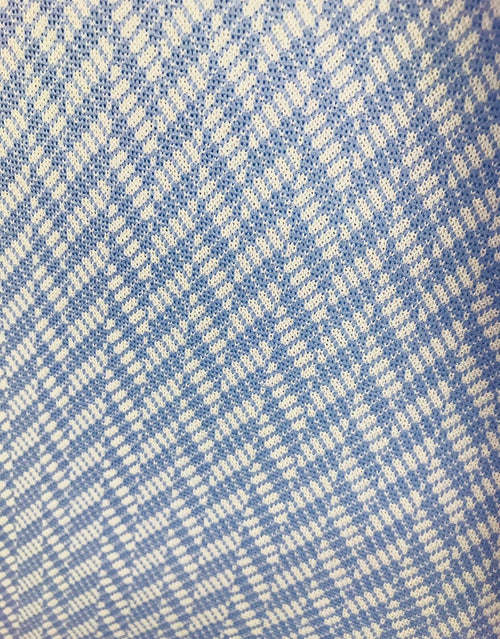 NEW Designer Retro Inspired Dacron Double Knit Herringbone Fabric - Powder Blue - Fancy Styles Fabric Boutique