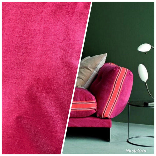 Designer Heavy Weight Upholstery Velvet Fabric- Fuchsia Pink- Sold By The Yard - Fancy Styles Fabric Pierre Frey Lee Jofa