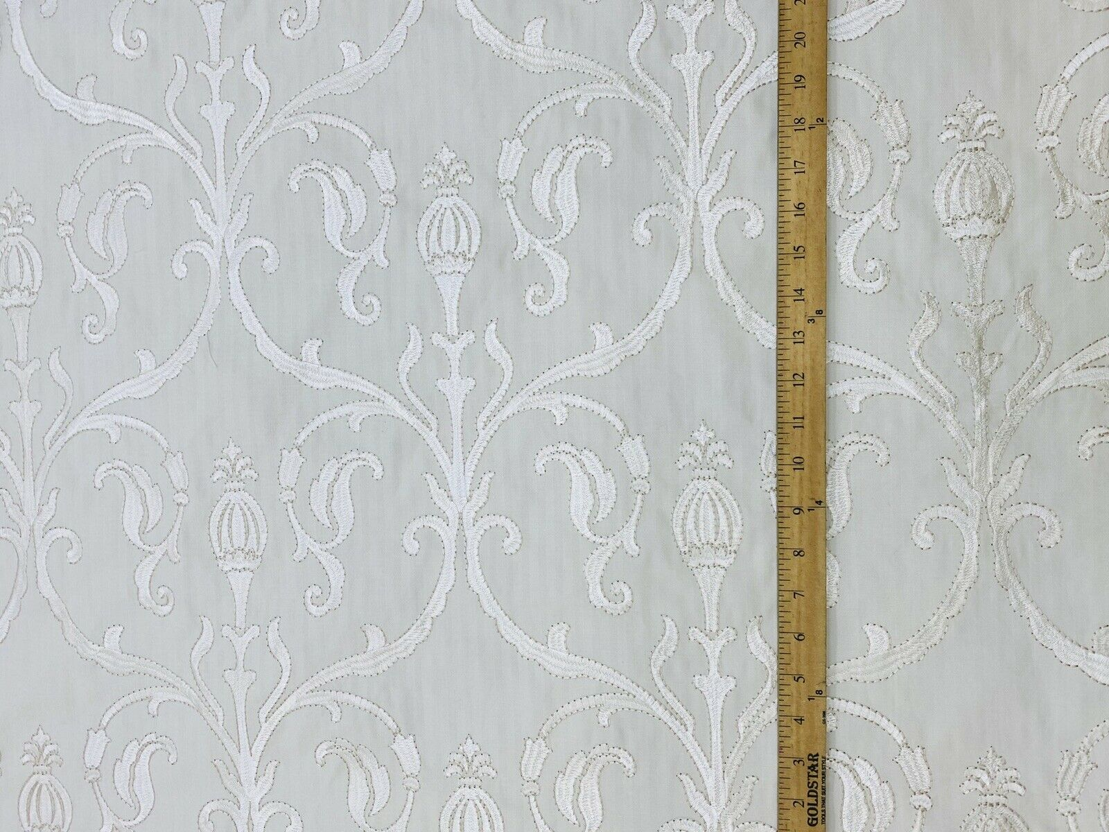 NEW! Novelty 100% Cotton Fabric Floral Damask Embroidery- White On White