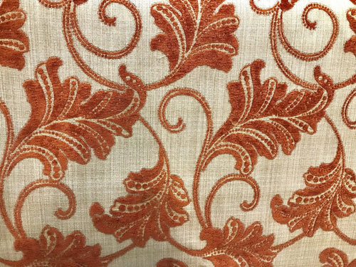 "SWATCH 4"" X 7"" - Burnout Velvet Floral Upholstery Fabric- Burnt Orange Rust Red - Fancy Styles Fabric Boutique"