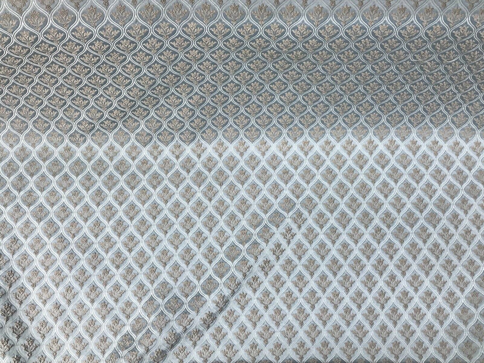 NEW  Eggshell Silver Blue Satin Brocade Upholstery Fabric GFPBB0001