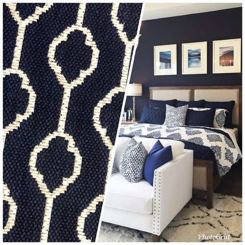 NEW Burnout Linen Inspired Upholstery Fabric- Indigo Blue Navy Geometric