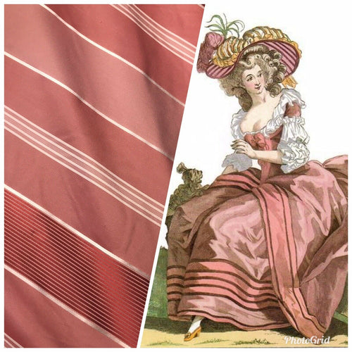 "NEW Designer 100% Silk Taffeta Dupioni Stripes Fabric - Rose 55"" Wide"