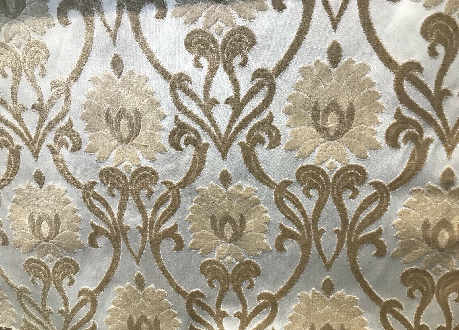 SWATCH Designer Brocade Burnout Chenille Fabric- Damask - Beige Upholstery