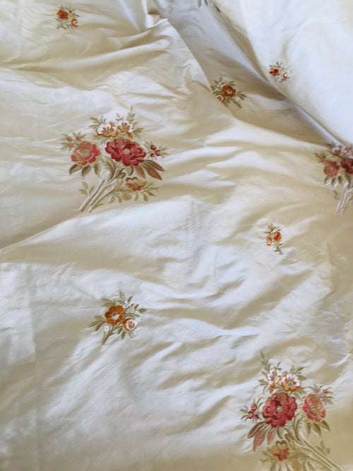 100% Silk Dupioni Embroidered Floral Fabric- Beige- Sold by the Yard