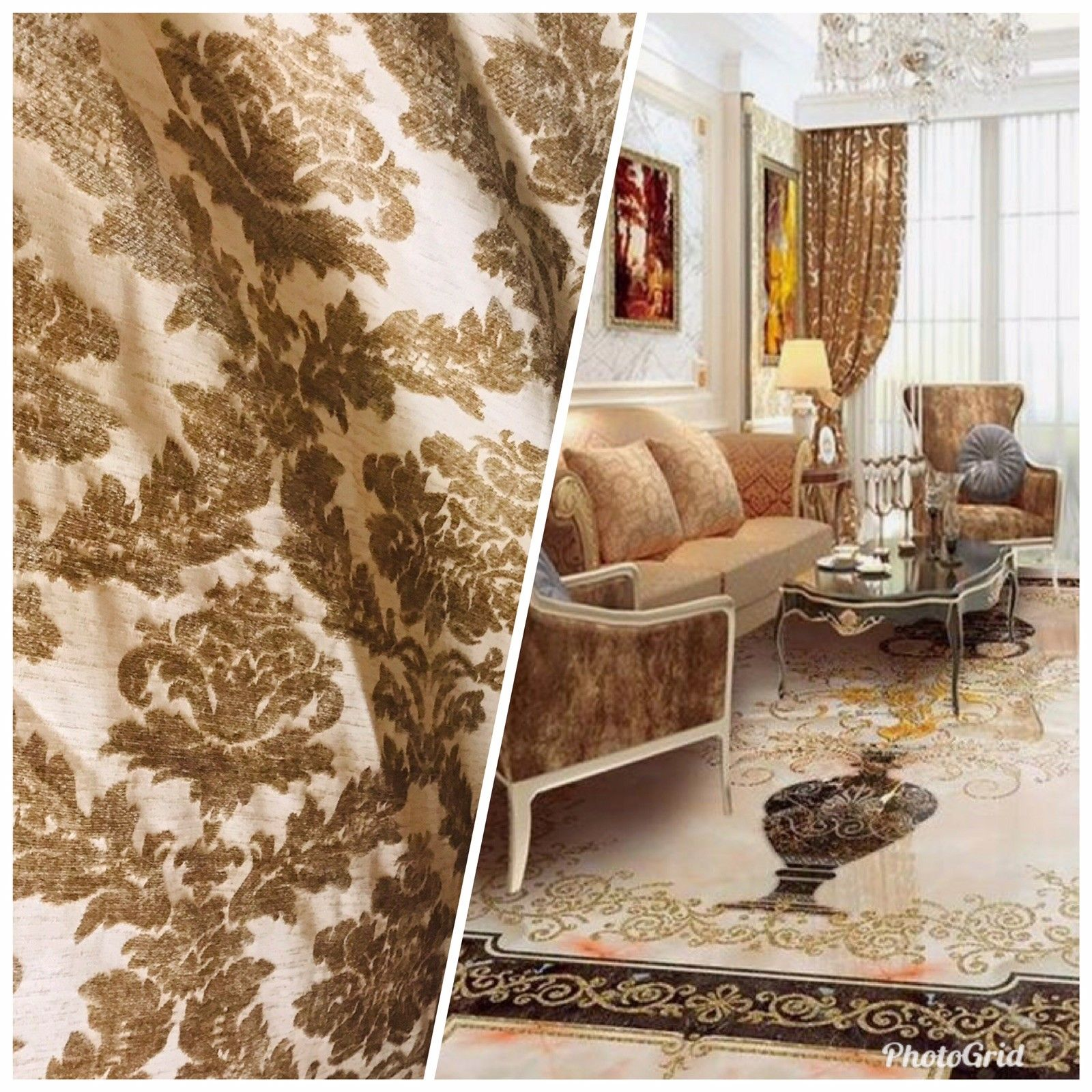NEW SALE Chenille Burnout Velvet Damask Fabric - Antique Honey Beige - Fancy Styles Fabric Boutique
