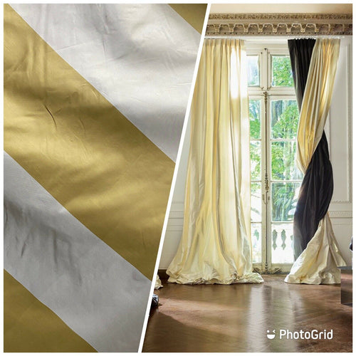 NEW 100% Silk Taffeta Gold & Cream Striped Fabric