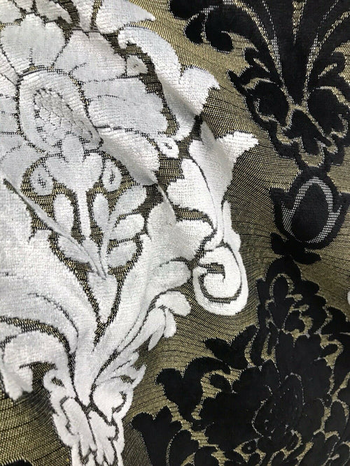 Designer Made In Italy Damask Chenille Velvet Fabric Upholstery-Black Gold White