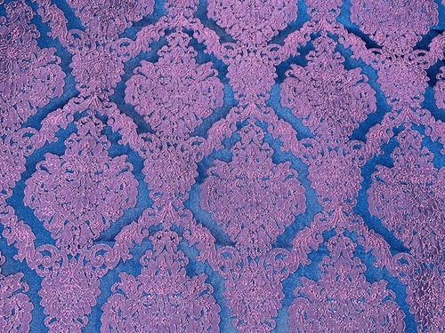 Fat Quarter- Style L- Princess Giselle Designer Damask Satin Drapery Upholstery Fabric - Fuchsia Pink & Navy Blue