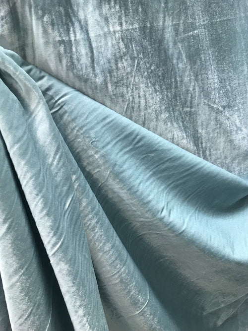 NEW! Designer Lined Silk Rayon Drapery Velvet Fabric By the yard- Aqua Turquoise - Fancy Styles Fabric Boutique