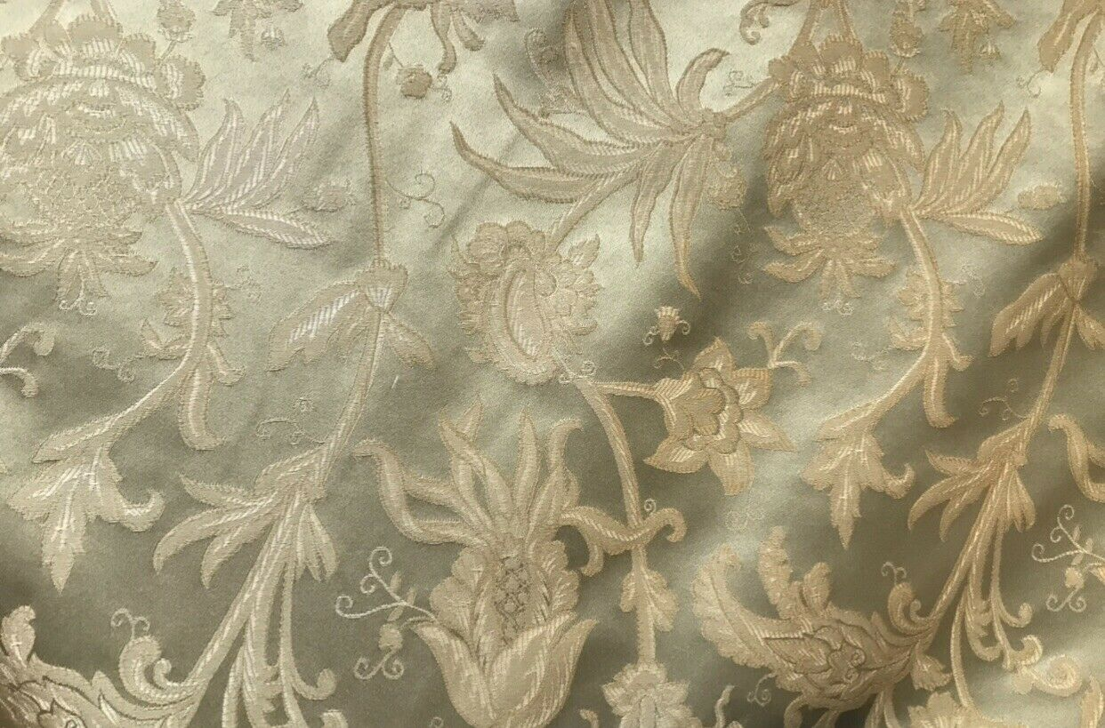 NEW Designer Brocade Satin Neoclassical Fabric- Green & Beige Floral - Louis