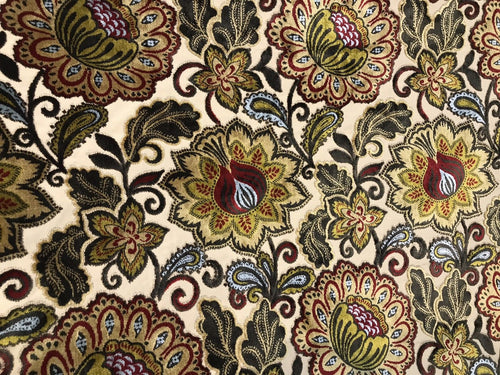 NEW Novelty Belgium Burnout Chenille Velvet Fabric Upholstery- Yellow Floral - Fancy Styles Fabric Boutique