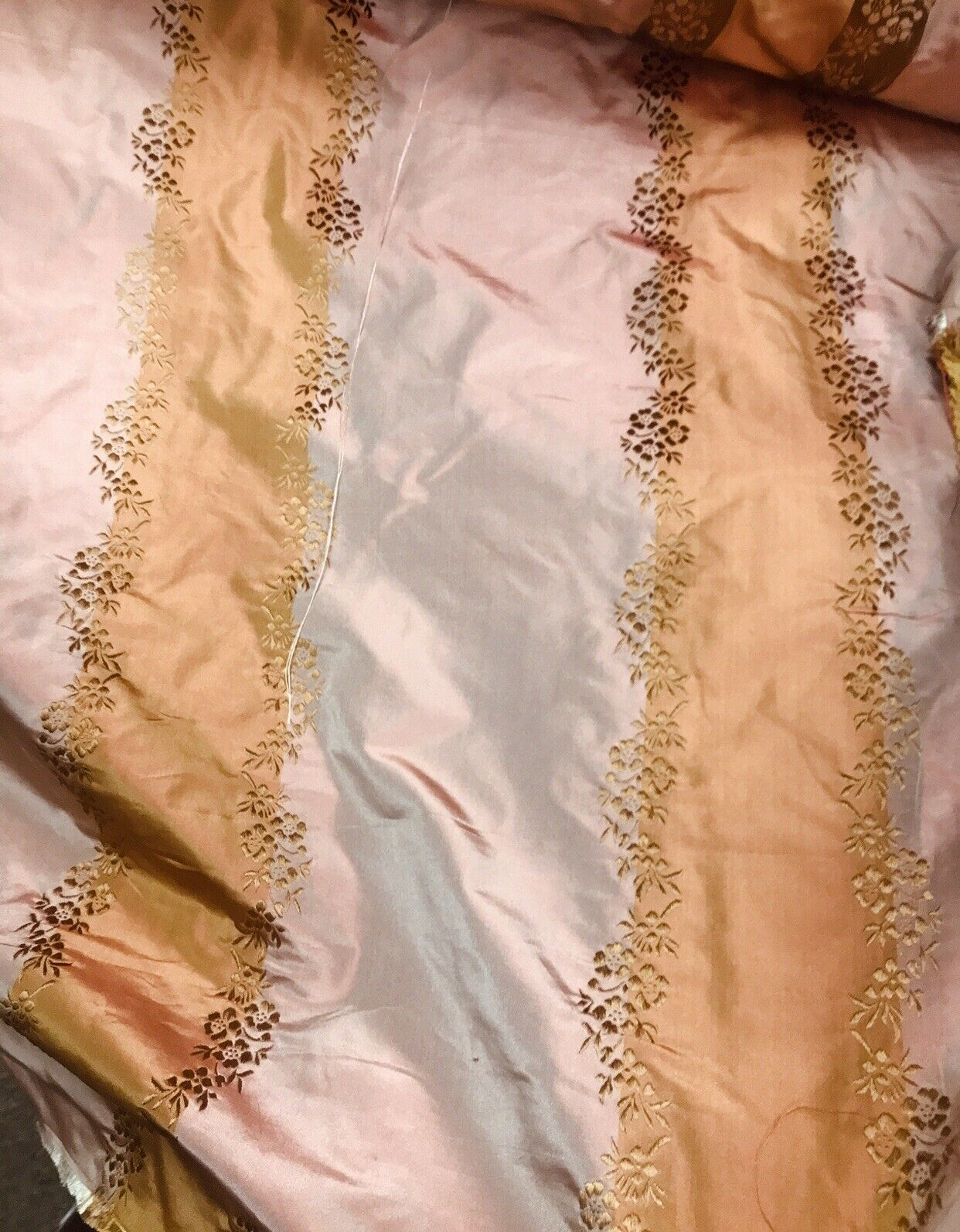 NEW SALE! Designer 100% Silk Taffeta Embroidered Stripe Floral Fabric- Pink & Gold