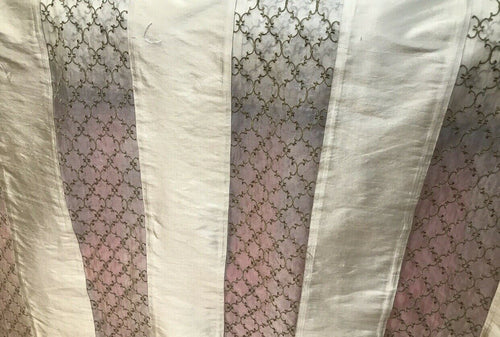 100% Silk Taffeta Striped Drapery Fabric - Pale Green & Clear - Embroidered