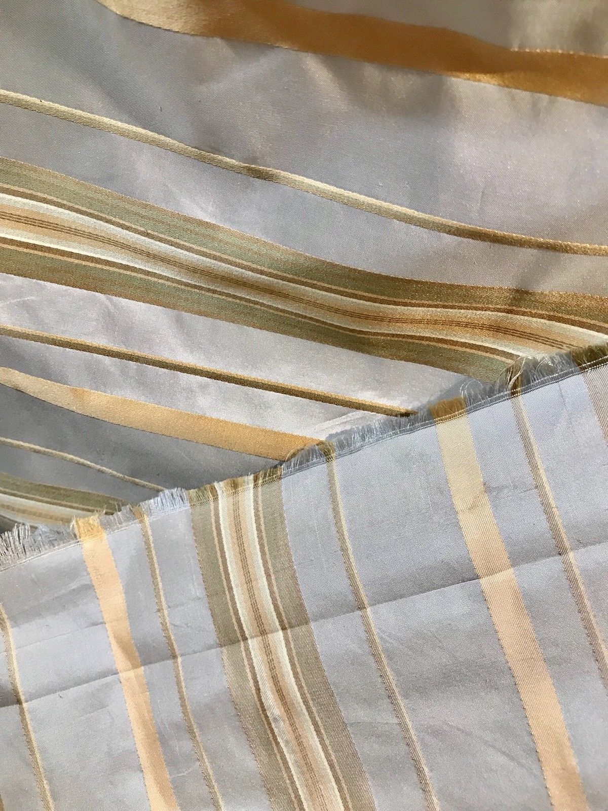 SWATCH 100% Silk Taffeta Drapery Fabric - Stripe Blue And Gold - Fancy Styles Fabric Boutique