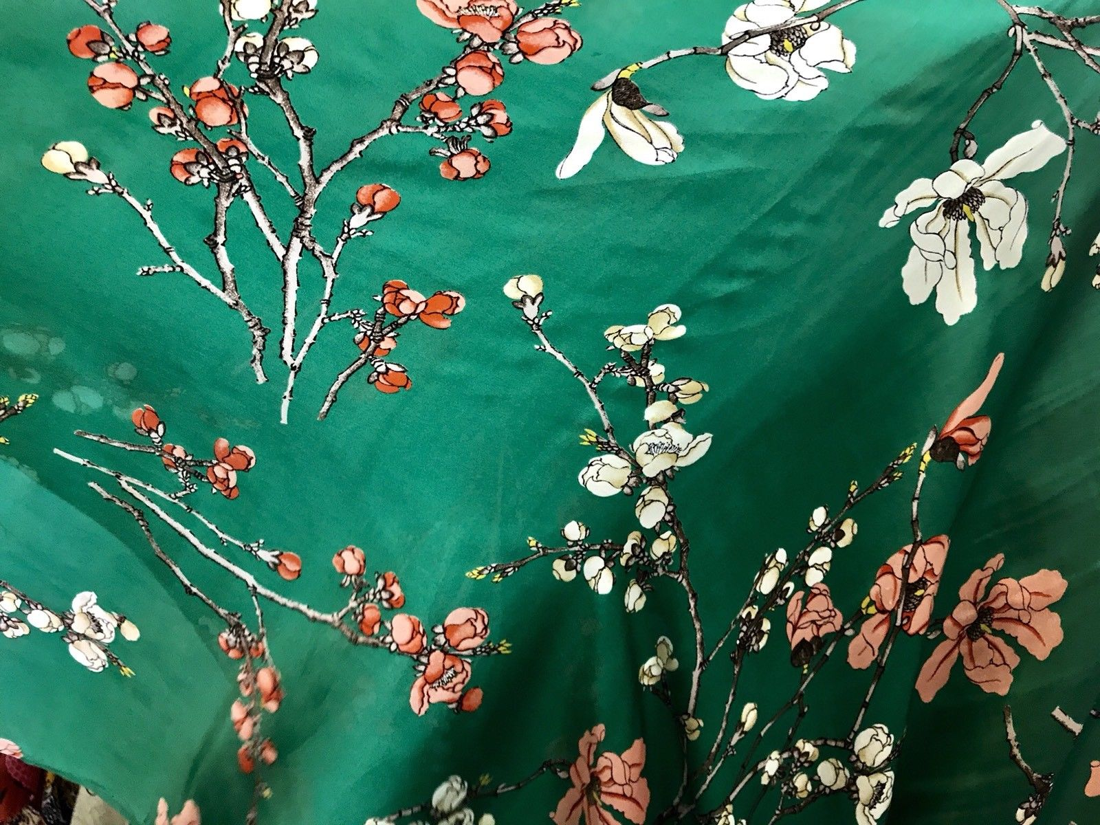 SALE! 100% Silk Charmeuse Kelly Green Cherry Blossom Kimono Dress Fabric - Fancy Styles Fabric Boutique
