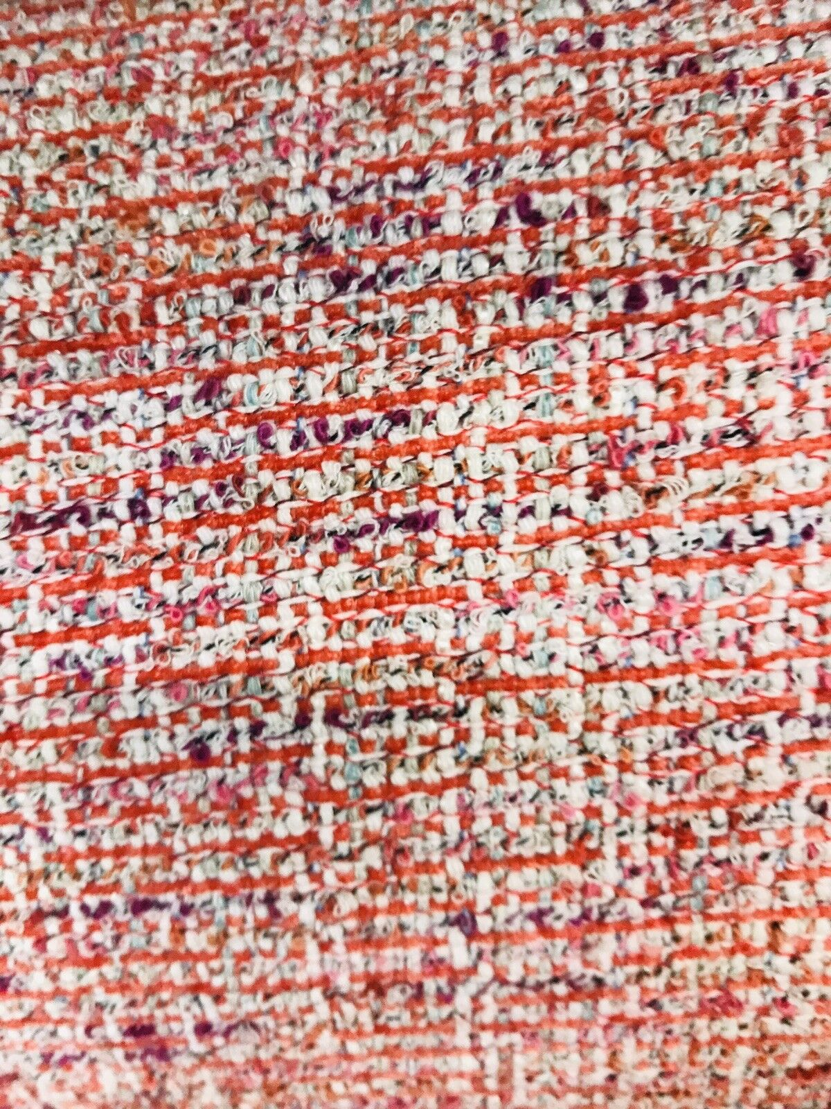 Designer Upholstery Heavyweight Tweed Fabric- Red White- Sold By The Yard