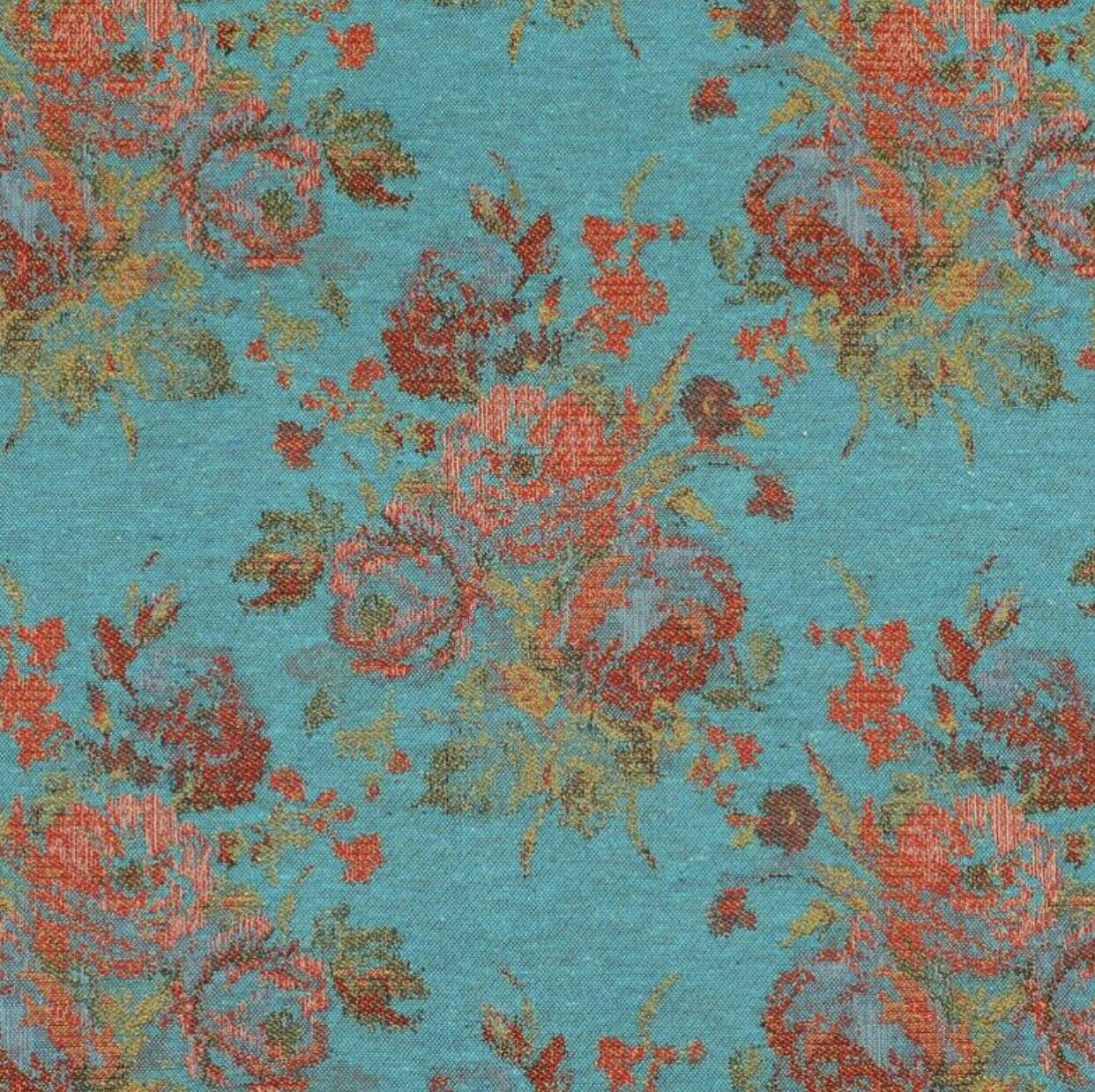 NEW Miss Juniper Designer Floral Needlepoint Inspired Upholstery Fabric- Turquoise & Roses