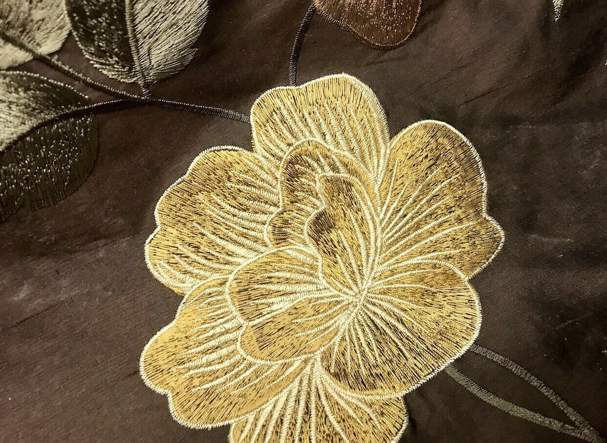 NEW! SALE! Duchess Seraphina 100% Silk Dupioni Embroidered Floral Fabric- Chocolate Brown