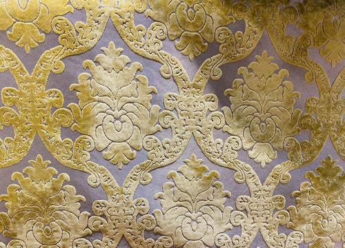 Designer Damask Burnout Chenille Velvet Fabric -  Yellow BTY