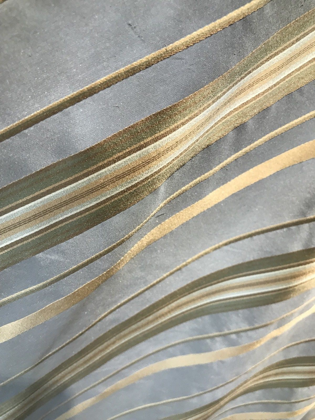 NEW! SALE! 100% Silk Taffeta Drapery Fabric - Stripe Blue And Gold - Fancy Styles Fabric Boutique