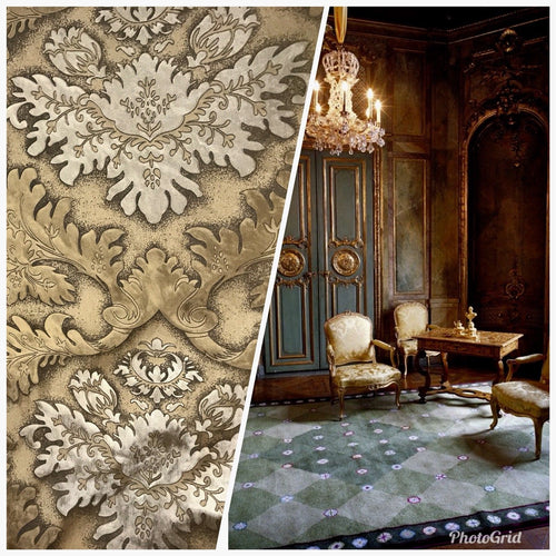 SWATCH Designer Burnout Damask Cut Velvet Fabric Metallic Gold & Beige Drapery - Fancy Styles Fabric Boutique
