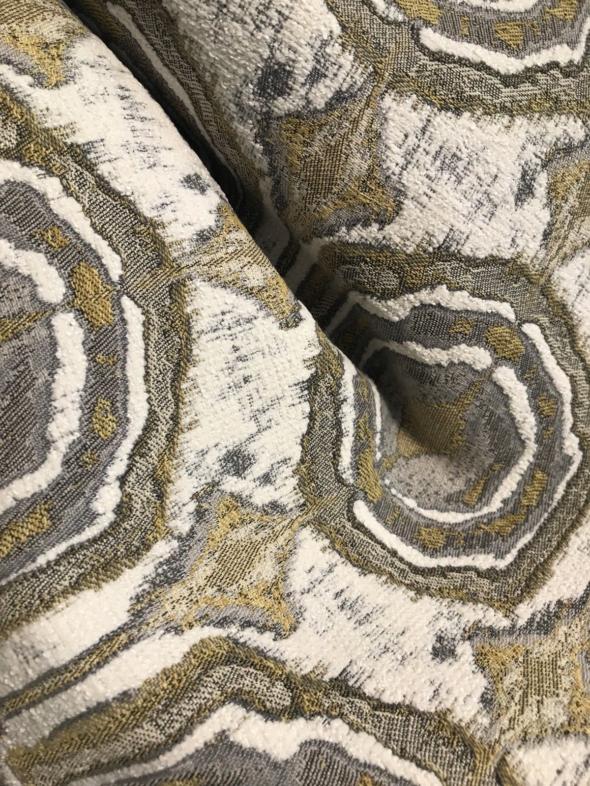 SWATCH Velvet Chenille Upholstery Decorating Fabric - Gold Ivory Gray - Fancy Styles Fabric Boutique