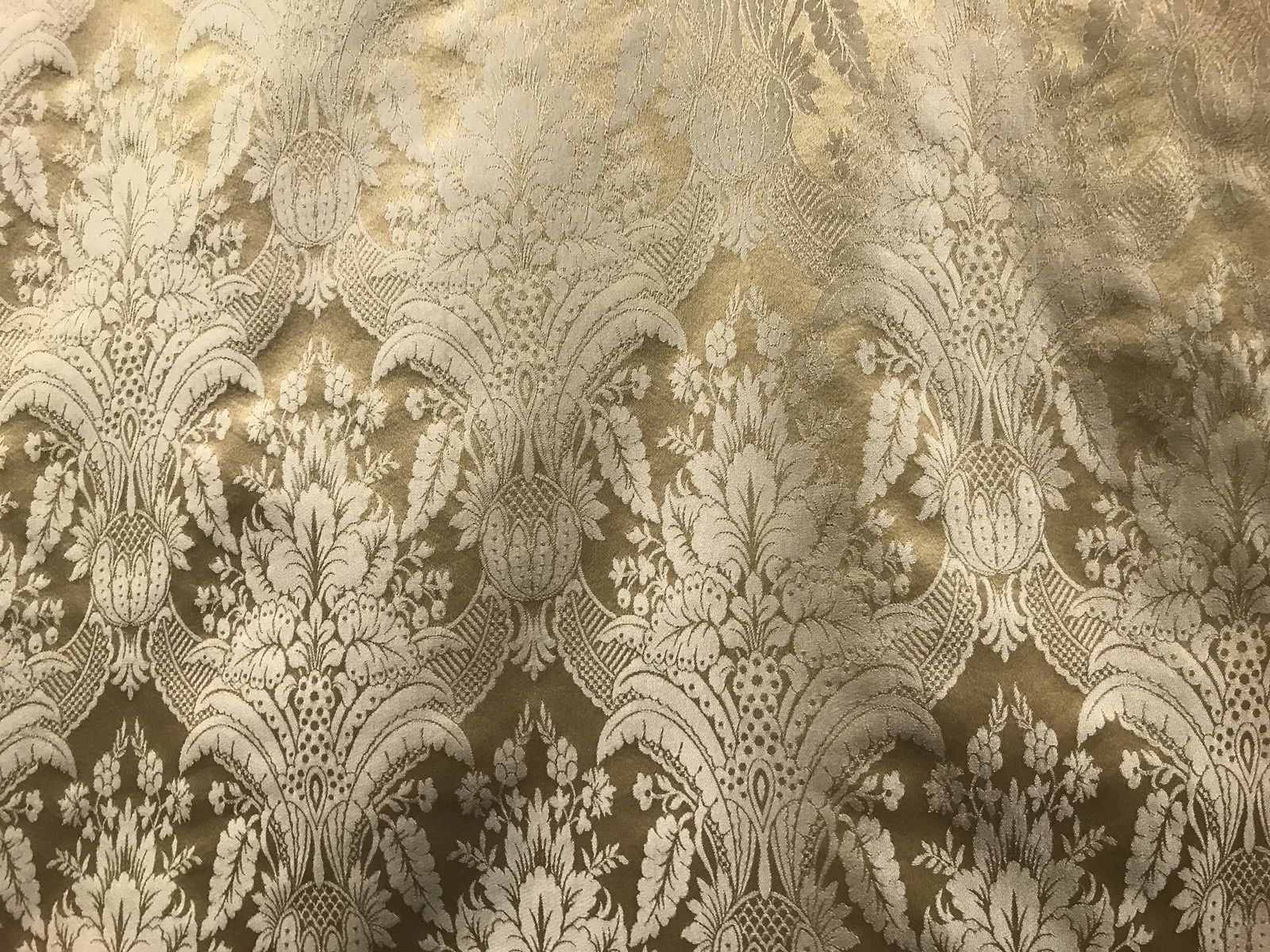 NEW! SALE! Designer Damask Satin Fabric- Antique Gold Beige - Upholstery Brocade - Fancy Styles Fabric Boutique