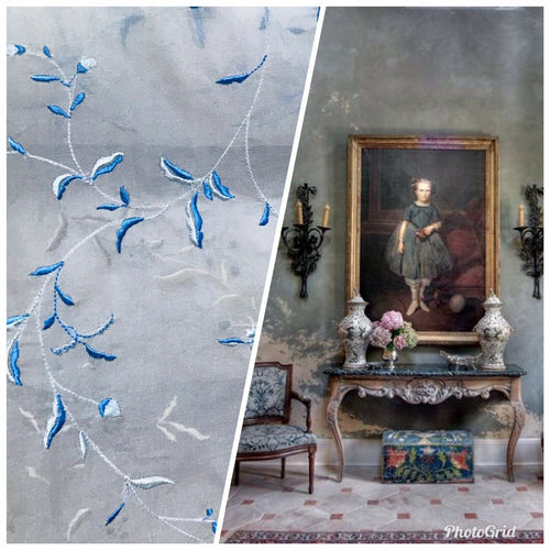 100% Silk Voile Organza Sheer Embroidery Drapery Fabric- Floral White & Blue