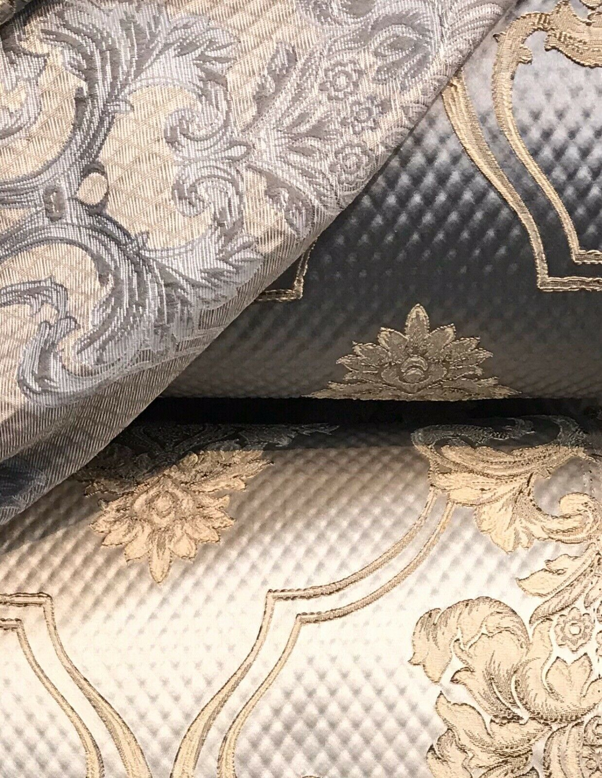 NEW Princess Clara Designer Satin Damask Upholstery Drapery Fabric - Pewter Gray BTY