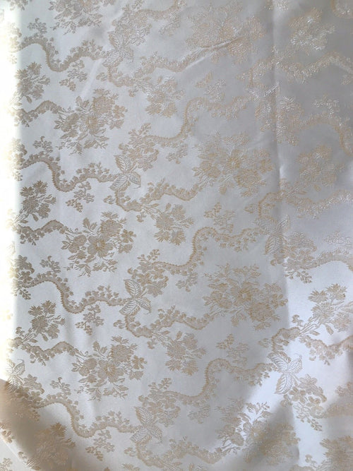 NEW SALE! Designer Brocade Jacquard Fabric- Peach Pink Floral Damask - Fancy Styles Fabric Boutique