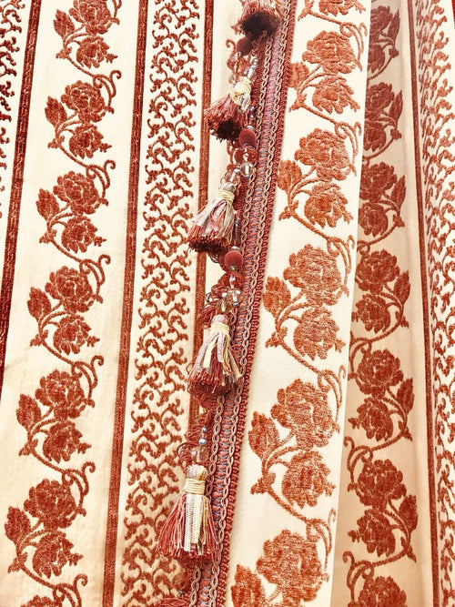 SWATCH Designer Velvet Chenille Burnout Fabric - Antique Red/Beige Roses - Fancy Styles Fabric Boutique