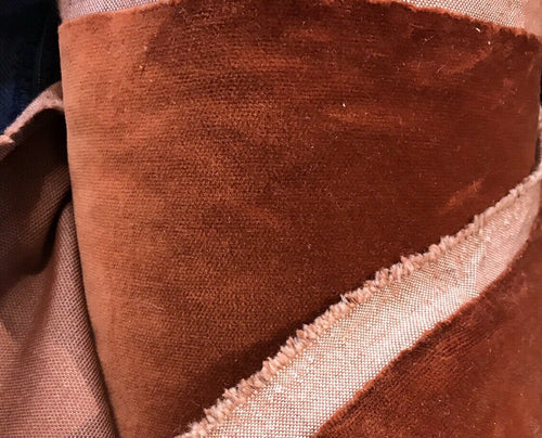 NEW Designer Burnt Brown Orange Velvet Upholstery Fabric- By The Yard