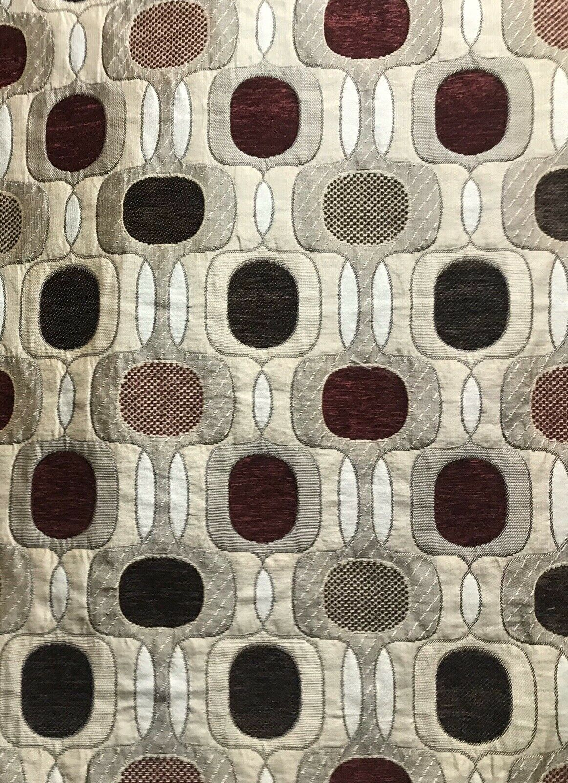 Designer Burnout Chenille Upholstery Geometric Fabric - Taupe Black Burgundy