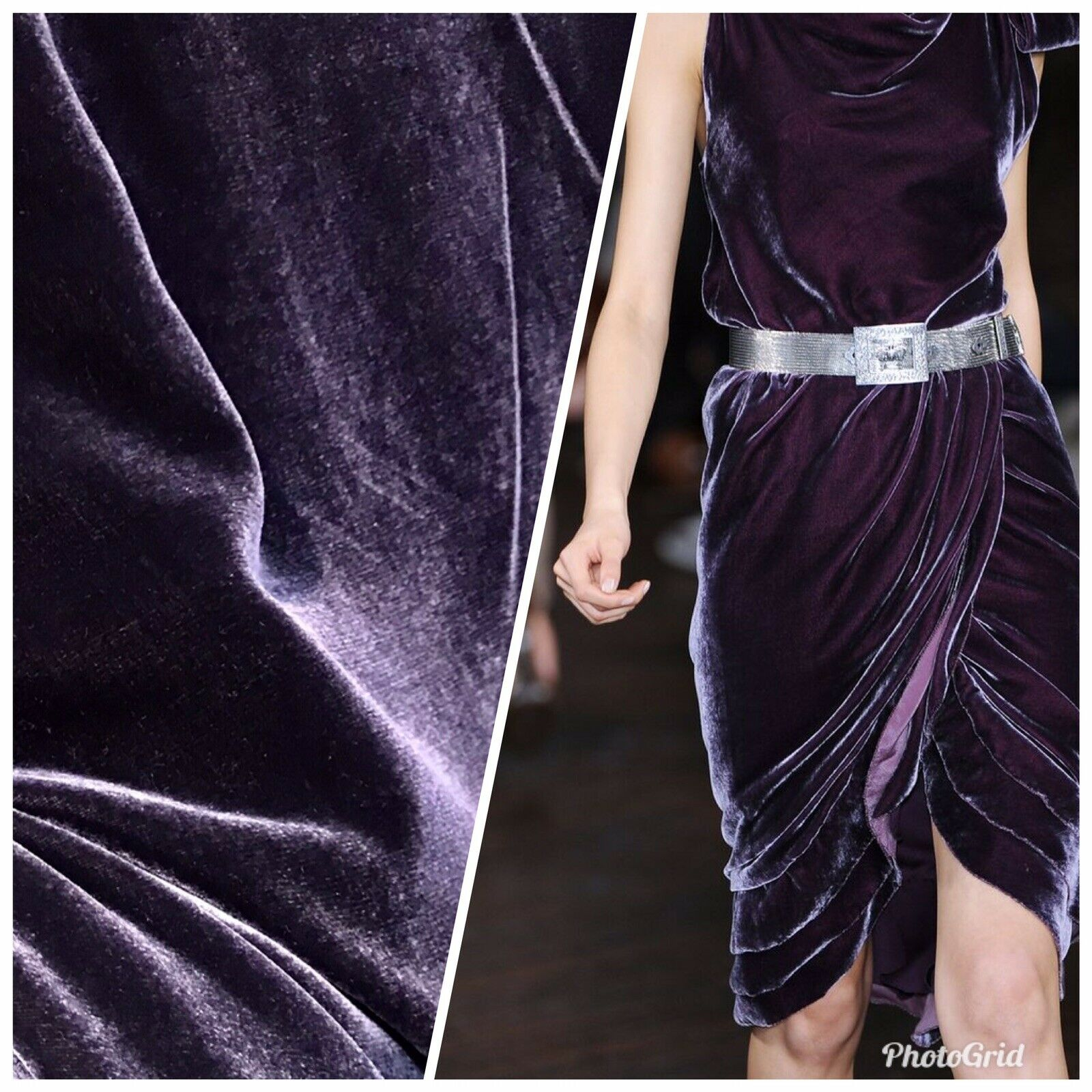 "NEW Close-Out Designer Runway Silk Rayon Velvet Fabric- Plum 55"" Wide"