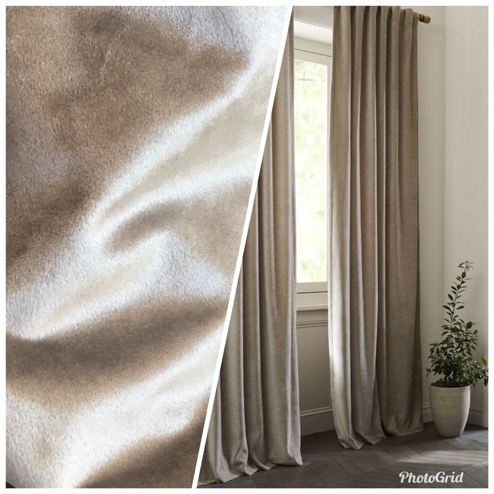 Designer Velvet Upholstery & Drapery Fabric -Light Taupe Grey- By The Yard