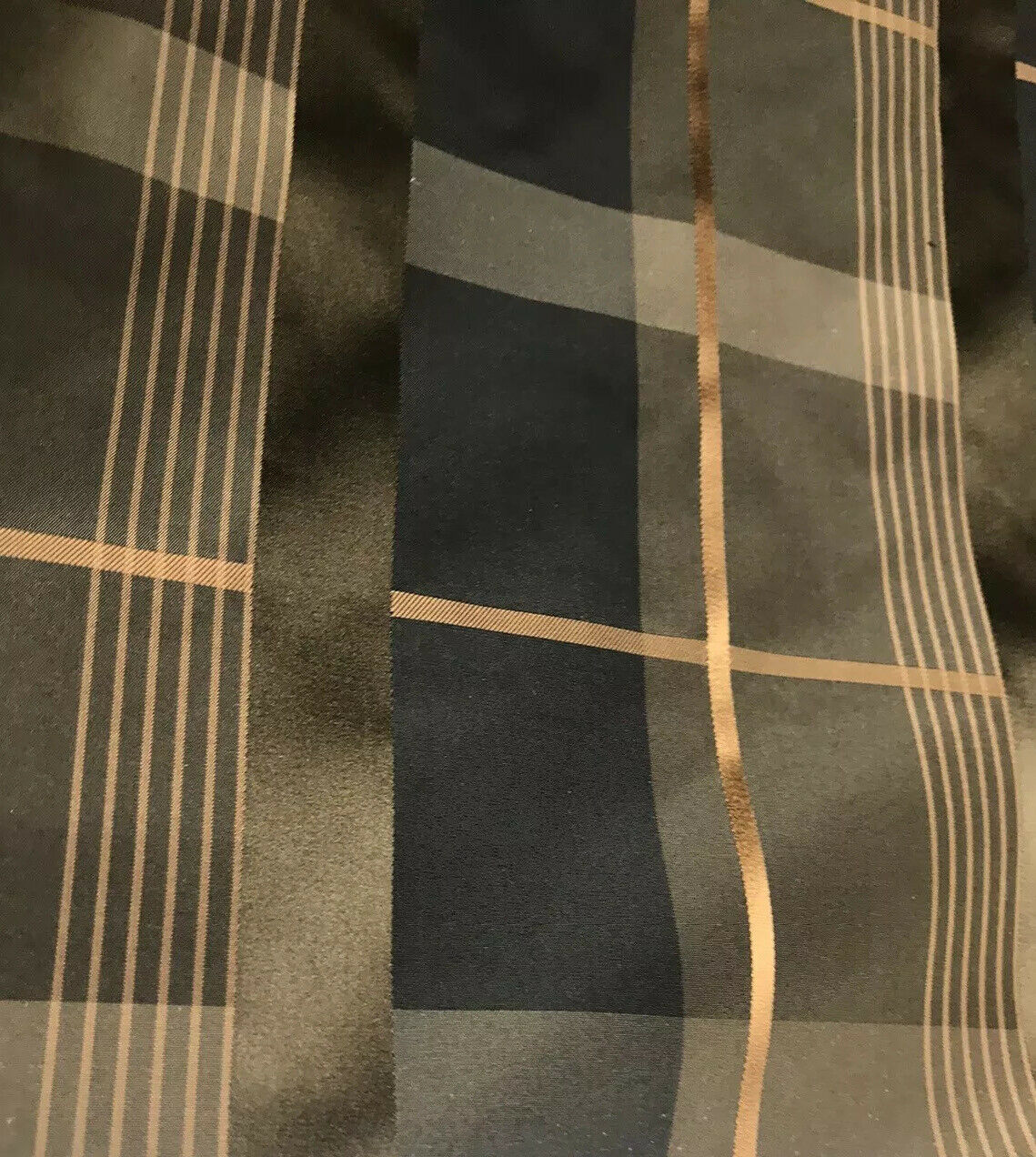 NEW Designer 100% Silk Taffeta Plaid Tartan Fabric- Black Gold Brown BTY