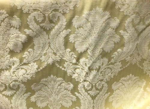 SWATCH- Designer Brocade Satin Fabric- Antique Pastel Yellow - Upholstery Damask - Fancy Styles Fabric Boutique