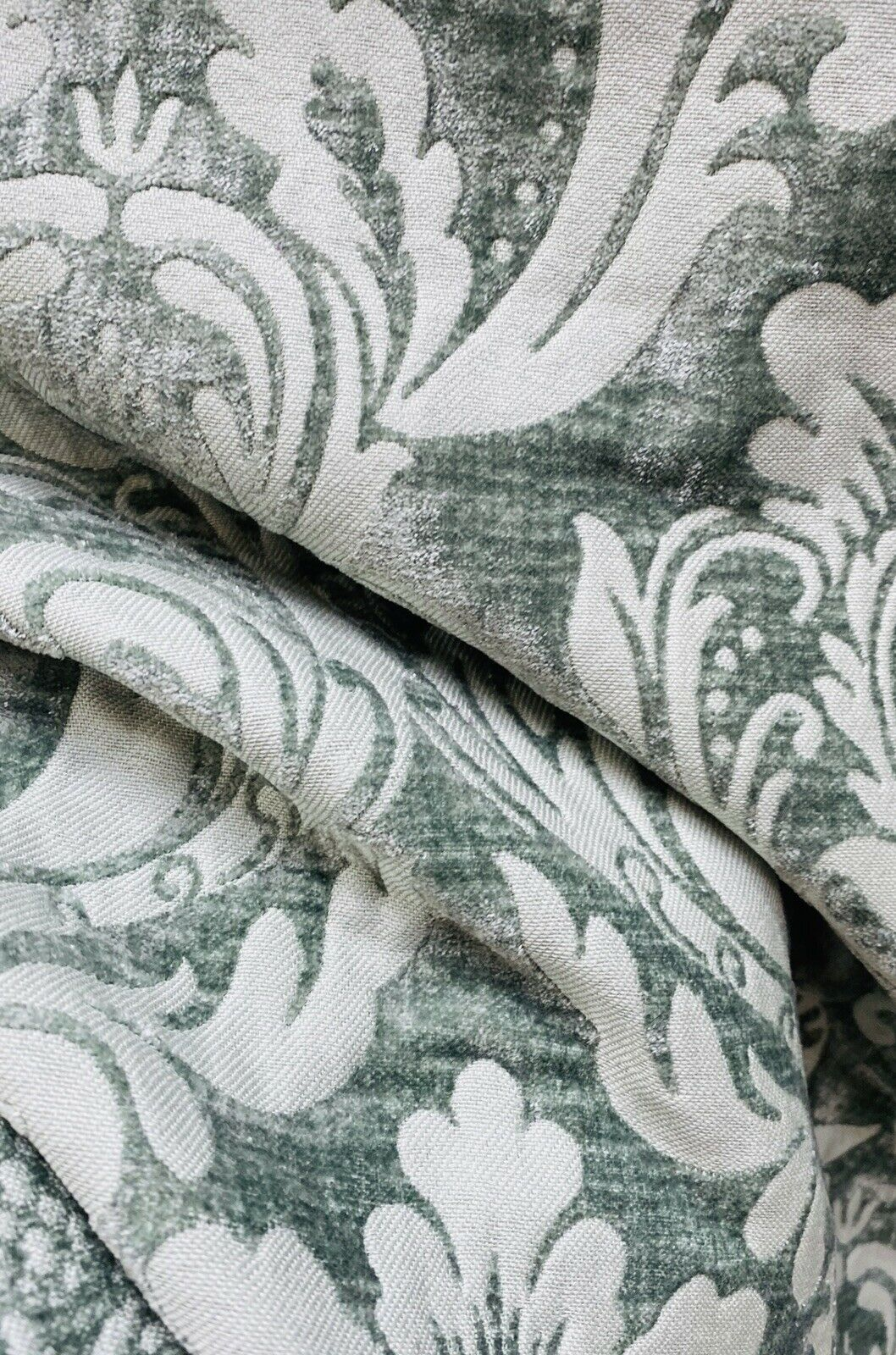 Designer Damask Burnout Chenille Velvet Fabric -Green Grey BTY